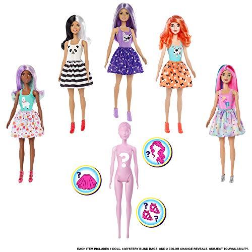 Barbie GMT48 - Color Reveal Assortimento a Sorpresa, Vestito e Acconciatura, Giocattolo per Bambini 3+ Anni, Modelli Asortiti