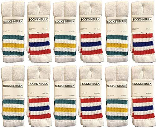 Yacht & Smith Mens Womens & Childrens Referee Old School Tube Socks, Striped, by SOCKS'NBULK