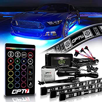 OPT7 Aura Underglow Flexible Lighting Kit for Cars Trucks RV w/Wireless Remote Exterior Underbody Neon LED Light Strips Multi-Color mode Smart LED Waterproof Soundsync 2 x 48 inch + 2 x 36 inch