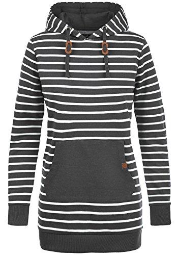 Blend SHE Cloey Damen Kapuzenpullover Hoodie Long Sweatshirt mit Fleece-Innenseite Longline Sweat-Kleid aus hochwertiger Baumwollmischung, Größe:M, Farbe:Charcoal (70818)