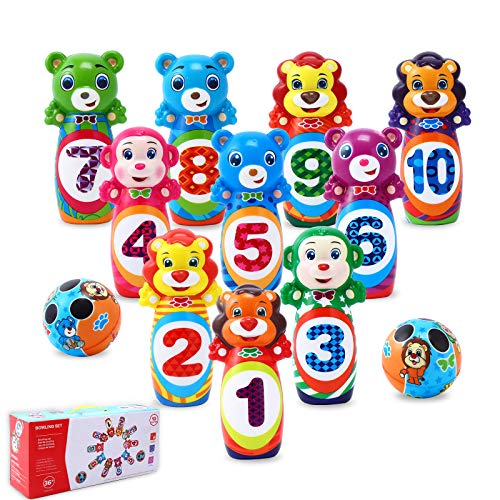 LARAH Large Kids Bowling Set Toddlers Toys - Boys Girls Activity Center Sports Toy ,Learning, Educational, Early Developmental Toy 10 Cute Animal Soft Foam Pins & 2 Balls for 3, 4, 5, 6 Year Olds