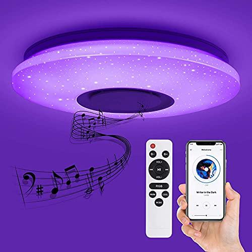 Plafoniera, Plafoniera a LED Cambio Colore Bluetooth, Lampada da Soffitto Dimmerabile 28-37W, Plafoniera a Forma di Stella, Lampada Musicale, Telecomando e Controllo APP, Ø 39 cm
