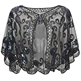 BABEYOND 1920s Shawl Wraps Sequin Beaded Evening Cape Bridal Shawl Bolero Flapper Cover Up (Black Colorful)