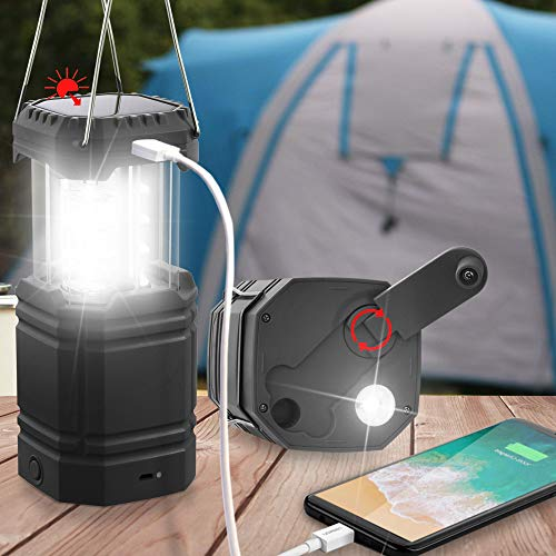 LED Camping Lanterns Rechargeable,Portable Solar Hand Crank Camping Light,Bright Flashlight for Power Outages,2000mAh Power Bank with USB Charger for Emergency, 8H Long Play Time,Outdoors& Indoors