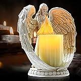 Candeliere elettronico, portacandele senza fiamma, ali in preghiera, angelo in resina, statua, in miniatura, decorazioni per candele per matrimoni, Natale, chiesa