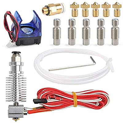 24V J-Head Hotend Full Kit with 5 Pcs Extruder Brass Print Head+ 5 Pcs Teflon Nozzle Throat Tube for E3D V6 Makerbot RepRap 3D Printer