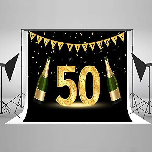 KateHome PHOTOSTUDIOS 2,2x1,5m 50th Fondo de Fotos de cumpleaños Foto de Estudio Stand Fondo Microfiber Fiesta de Feliz cumpleaños Telones de Fondo para fotografía