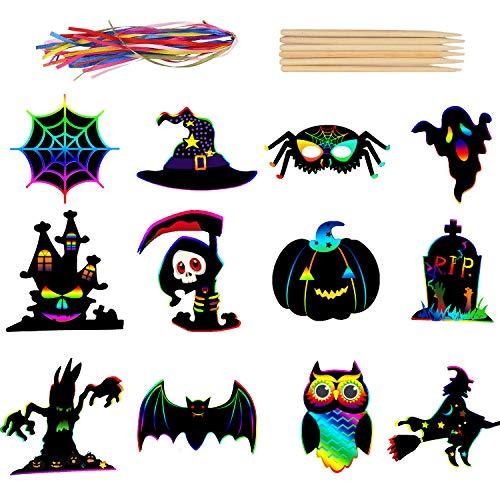 DIYASY 72pcs Halloween Scratch Art, Scratch Paper Magic Scratch Art Rainbow...