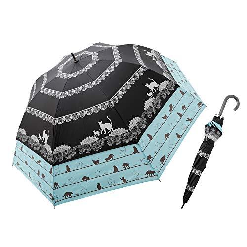 世界初!大きく広がる耐風トランスフォーム傘ネコ柄【UVカット99.99%】晴雨兼用傘 ブラック×サックス