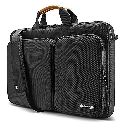 tomtoc Laptop Schultertasche Umhängetasche kompatibel mit 17-17,3 Zoll Dell HP Acer Asus Lenovo Notebook, Aktentasche mit Zwei Frontfach für MacBook Zubehör