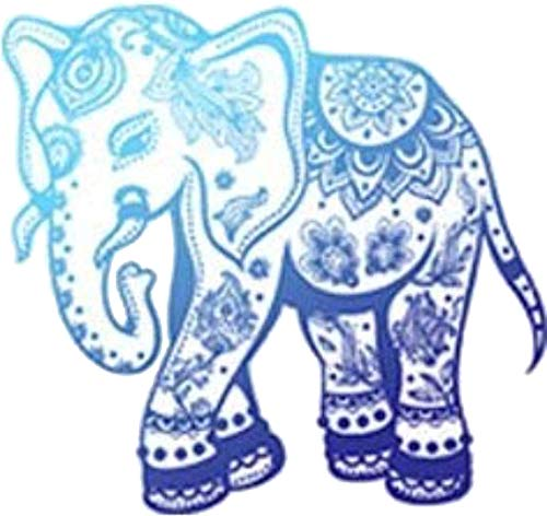 "Divine Designs Pretty Blue Ombre Zen Yogi Yoga Peace Symbol Cartoon Vinyl Decal Sticker (4"" Wide, Elephant)"