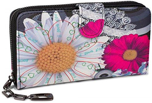 styleBREAKER portafogli con fiori e etnici e design colorato, design vintage, chiusura con cerniera, portamonete, donna 02040040, colore:Nero-Bianco-Rosa