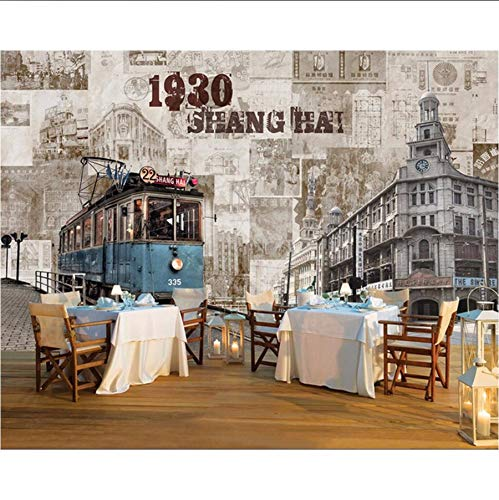 Pmhhc Papier Peint Personnalisé Vieux Shanghai Architecture Nostalgique Rétro Tv Fond Mur Salon Chambre Peinture Murale 3D Papier Peint-350X250Cm