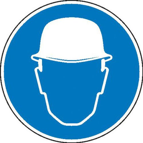 Betriebsausstattung24® Minisymbole für Betriebsanweisungen auf Bogen Schutzhelm benutzen 32 Stück auf Bogen Gröߟe 2,00 cm x 2,00 cm Folienetiketten, selbstklebend,auf Bogen angestanzt