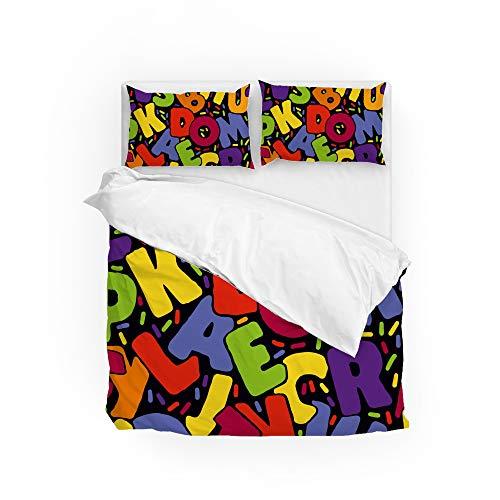 Ruchen Juego de funda de edredón y funda de almohada, diseño del alfabeto de colores para todas las estaciones, duradero, fácil cuidado, pesonalizado, completo