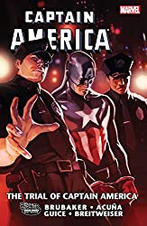 Captain America - The Trial of Captain America cover with Bucky-as-Cap in handcuffs