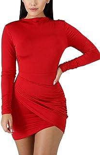 c06a36c0cc BORIFLORS Women s Sexy Wrap Front Long Sleeve Ruched Bodycon Mini Club Dress
