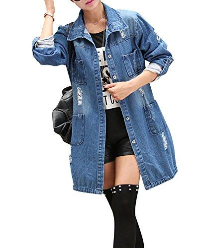 Minetom Damen Jeans Denim Jacke Blouson Übergangsjacke Mantel Outwear Trenchcoat Frühling Lange Cut Out OversizeJacke Jacken Blau DE 44