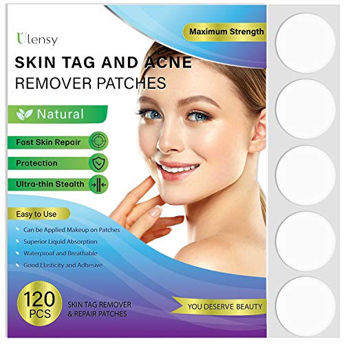 120 PCS Skin Tag and Acne Remover Patches, Natural Ingredients, Advanced Hydrocolloid Acne Pimple Patch, Dries and Falls Away