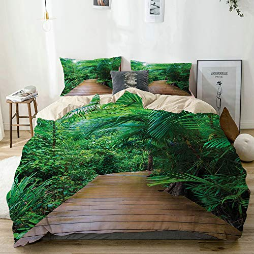 PANILUR Bedding Juego de Funda de Edredón,Tropic Timber Jetty Wild Exotic Print,Microfibra Funda de Nórdico y Fundas de Almohada (Cama 150x200cm)