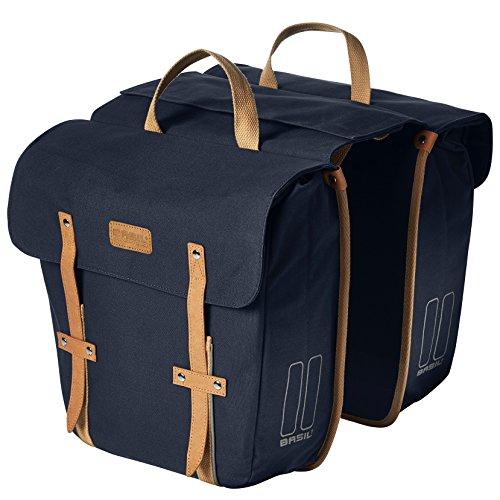 Basil Gepäckträgertasche Portland-Slimfit Double Bag Fahrradtasche, Blue, 33 x 11 x 35 cm