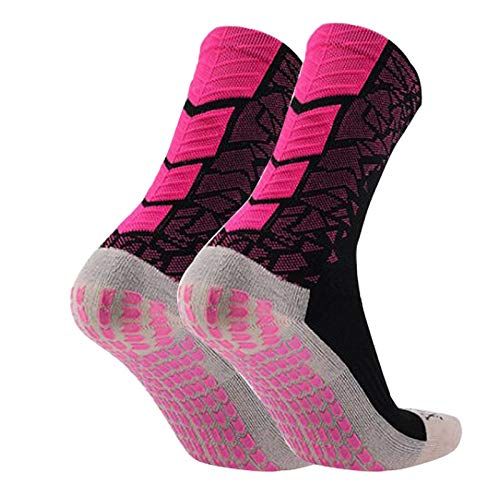 Manbozix Homme Chaussettes Antidérapantes Sport Chaussettes de Football Mixte Adulte Multicolore Meilleure Forme Sportive pour Courir 38-44, Rose/Noir