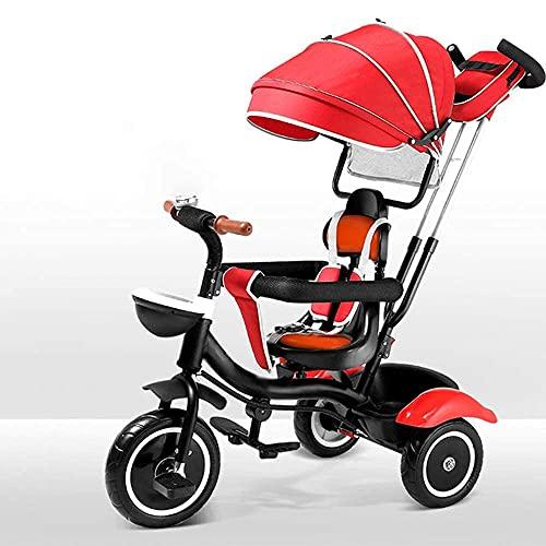 Triciclo triciclo triciclo de bebé - 4 en-1 Triciclo para niños Triciclo de bebé Toldo ajustable Bebé Triciclo Asiento orientado hacia el niño para niños pequeños y niñas para niños de 9-60 meses