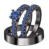 DiviDiamonds - Juego de anillos de compromiso de tres anillos de compromiso chapados en oro negro de 14 quilates con zafiro de 3/4 quilates