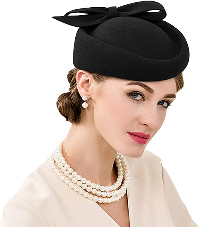 1950s Women's Hat Styles & History F FADVES British Style Pillbox Hat Retro Wool Fascinator Wedding Derby Church Party Hats  AT vintagedancer.com