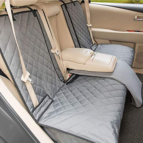YESYEES Waterproof Dog Car Seat Covers Pet Seat Cover Nonslip Bench Seat Cover Compatible for Middle Seat Belt and Armrest Fits Most Cars, Trucks and SUVs(Grey)