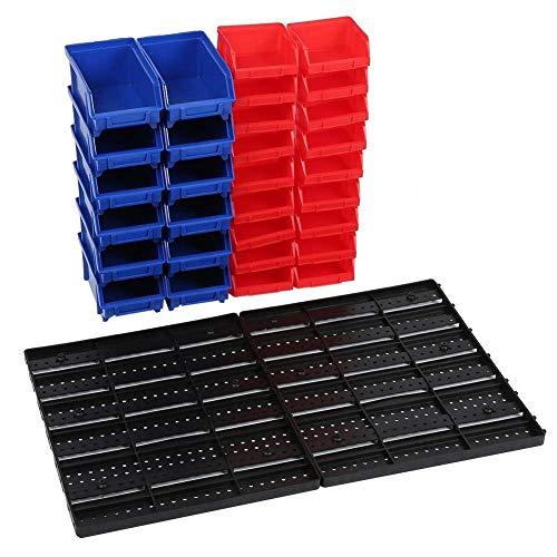 Juego de 30 cubos de basura montados en la pared, organizador de piezas con panel para el sistema de almacenamiento del taller de garaje