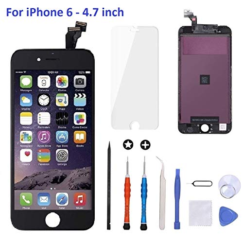 Goldwangwang iPhone 6 Screen Replacement Black,4.7inch LCD Touch Screen Digitizer Replacement Fully Frame Display Assembly Set with Repair Tool kit + Tempered Glass Screen Protector + Instruction