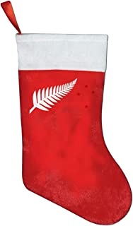 FQWEDY New Zealand Flag Maori Fern Stars Christmas Stockings Santa Claus Gift Bag Holiday Decorations Party Ornaments