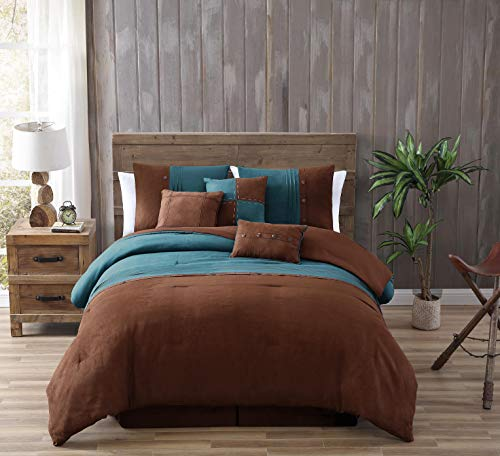 Chandler 7-Piece Western Lodge Pleated Stripe Micro Suede Bedding Comforter Set (King, Teal/Brown)