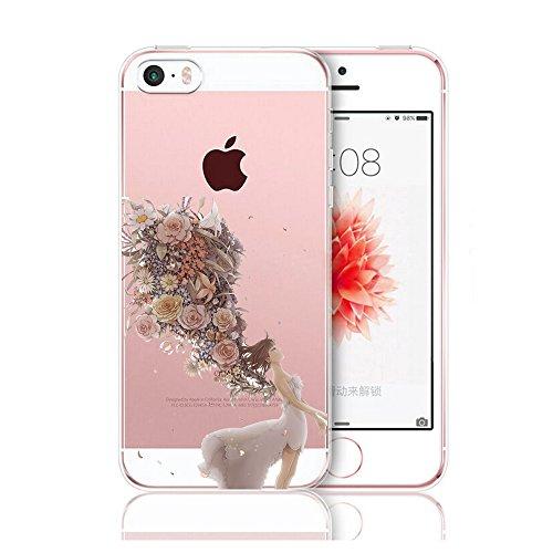 Caler iPhone 5 Case iPhone 5S Caso iPhone SE Funda Slim Cases Carcasa Cáscara Cover Case Flexible TPU Adorable Caprichoso Protección para Apple iPhone 5 5S SE (Niña)