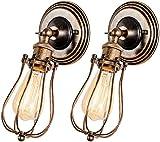 ZHANGYY Lámpara de Pared Vintage Jaula de Alambre Bronce frotado con Aceite Lámpara de Pared Industrial Ajustable, Juego de 2 lámparas de Pared rústicas Accesorios de Soporte de cerámica p