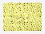 ABAKUHAUS Limón Tapete para Baño, Limones de Dibujos Animados Los Zigzags, Decorativo de Felpa Estampada con Dorso Antideslizante, 45 cm x 75 cm, Mostaza Verde Lima