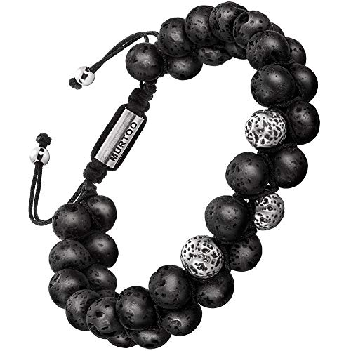 murtoo Bracelet en Pierre Naturelle pour Les Hommes, Braceletréglable de perlesavec Huile Essentielle Yoga comme Diffuser Bracelet pour Hommes (Neuf Grosse Pierre volcanique)