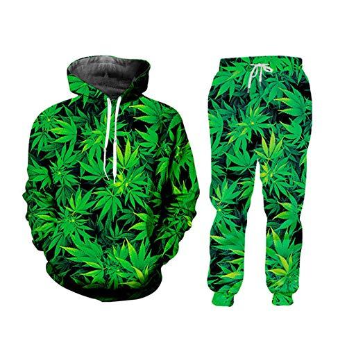 Kuekjcnmx Lässige Streetwear Sweatshirt und Hose Green Leaf Weed 3D 2-teiliges Set Hoodie Pullover Herren/Damen Trainingsanzug HSPA01824 S