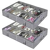 homyfort Juego de 2 Organizador de Zapatos Debajo de la Cama - Titular de la Zapata Bolsas organizadoras de Zapatos con Tapa Transparente 14 Pares x2 Caja Plegable de Almacenaje, Gris Espiga, XDUBSB2P