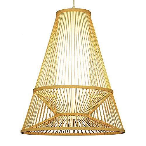 SHUANF Lámpara colgante de linterna de bambú Araña de creatividad de forma geométrica Lámpara de techo E27 Para sala de estar Tatami Restaurante Café Casa de té Bar Comedor Club Accesorio de iluminaci