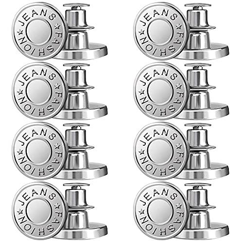 8PCS Jean Button No Sew Instant Button 17mm Detachable Reusable Jean Replacement Buttons for Jeans,Jackets, Hats, Suits, Pants, Bags