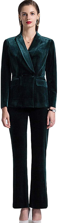 Xixi House Women's Suits Pants Suits Business Casual Office Lady Suits 2-Piece Set Double-Breasted Blazer Pants