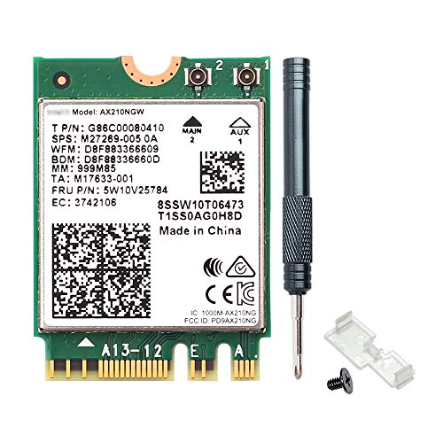 REKONG WiFi 6E AX210NGW M.2 2230 Wireless WiFi Card BT5.2 Dual-Band 160MHz 802.11ax 2x2 MU-MIMO AX210 3000Mbps NGFF Network Card Better AX200NGW Card for PC Laptops Only Support Windows 10,64 bit