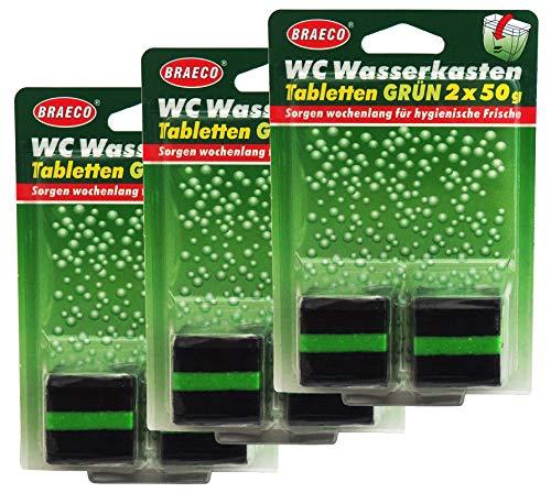 12x 50g Braeco WC Wasserkasten Tabletten grün, Spülkastentabs Grünspüler, Spülkastenwürfel für hygienische Frische und grünes Wasser im WC