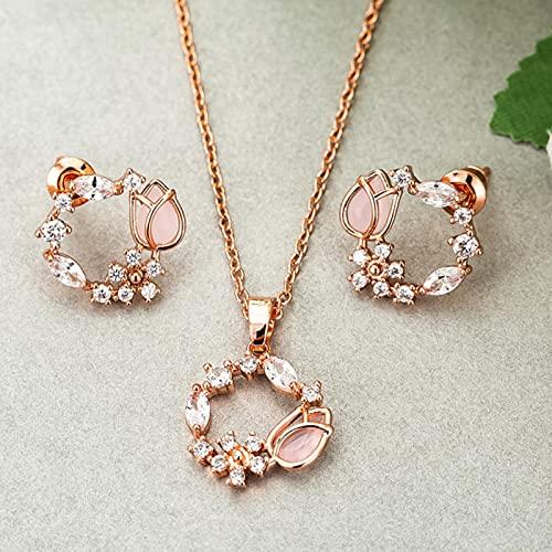 TTGE Conjuntos de joyería de circonita Nupcial de Boda a la Moda para Mujer Gargantilla de Flor de Concha romántica Elegante Collares de Perlas Pendientes Bijoux Regalo