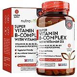 Vitamine B Complexe - 1 An d'Approvisionnement - Comprimés végétariens - 8 formes de Vit B Haute résistance (avec biotine et vitamine B12) - Enrichi en vit D3 - Fabriqué au Royaume-Uni par Nutravita