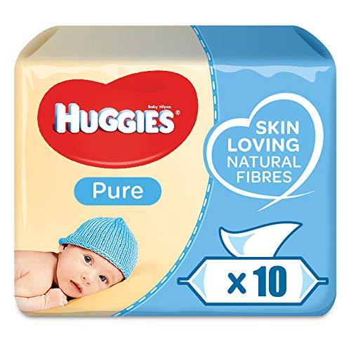 Huggies Pure, sensitive Baby-Feuchttücher, 99% Wasser, parfümfrei, 10er Pack (10 x 56 Stück)