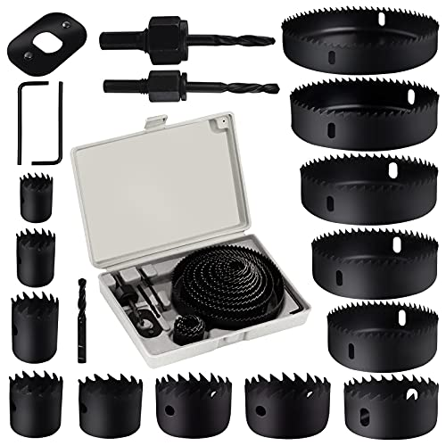 Hole Saw Set, 19 PCS Hole Saw Kit with 13Pcs Saw Blades 3/4''-5'' Full Set in Case with 3 Mandrels, 1 Installation Plate, 2 Hex Keys Ideal for Soft Wood, PVC Board, Drywall and Plastic Drilling