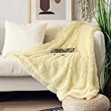 Decorative Extra Soft Faux Fur Throw Blanket 50'x 60',Solid Reversible Fuzzy Lightweight Warm Long Hair Shaggy Blanket,Fluffy Cozy Plush Microfiber Fleece Comfy Blanket for Couch Sofa Bed,Light Yellow